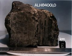 Meteorite ALH84001  Here's a nice photo of the meteorite ALH84001 which was believed to be a portion of Mars. This meteorite, approximately 4.5 billion years of age, was found at the Allan Hills ice field in Antarctica.
