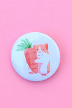 Cute guinea pig pin, guinea pig, guinea pig gift Cute Guinea Pigs, Brighten Your Day, Carrot, Things To Come, Gifts, Carrots, Presents, Gifs