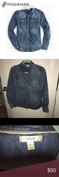 J Crew Denim Chambray Shirt Worn once, perfect condition! J Crew Tops