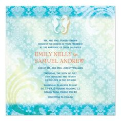 "Sea Horse Couple Jeweled Damask Teal Beach Wedding Invitations (5.25""x5.25""). #destinationwedding #beachwedding #seahorse #wedding #zazzle"