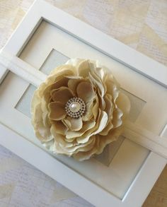 Beige and gold flower headband photo prop newborn by Abelialane, $8.95