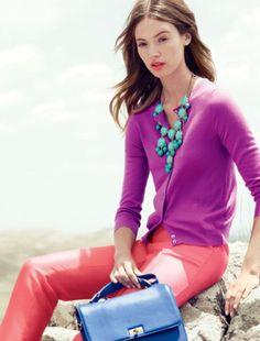 Coral, purple, turq.