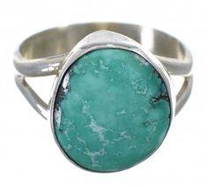 Genuine Sterling Silver Turquoise American indian Ring Size 7-1/2 RX78876-1