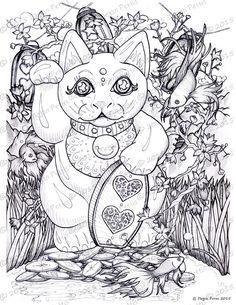 Maneki Neko Good Luck Garden Japanese Beckoning Cat Adult Coloring Book Page Instant Download Digital File Ornate Intricate