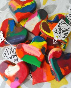 Make heart shaped crayons out of crayon scraps!