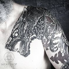 """Meatshop tattoo on Instagram: """"Close-up of Muninn and Gere. Very different style from the @blackhandnomad but I think youll agree, still epic. Is this something you…"""""""