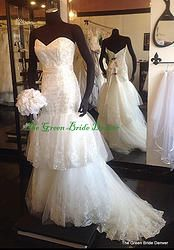 Fit and flare wedding dress. EDEN 5122 SZ 8 IVORY LACE AND NET SWEETHEART BNWT layers and beading $1000 at thegreenbridedenver.com