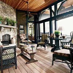 "love the fireplace on this porch & the black vintage wicker ~ from the adventures of tartanscot™: ""Lake House Style . . . """