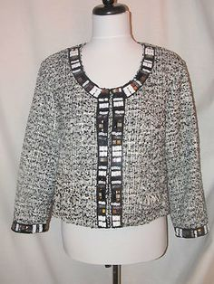 Sz M Luciano Dante Black White Tweed Crop Jacket Beaded Accents 3/4 Sleeves