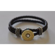 Remington 12 Gauge Shotgun Shell Brown Leather Bracelet Braided... ($30) ❤ liked on Polyvore featuring jewelry, bracelets, sea shell jewelry, remington, woven jewelry, bullet shell jewelry and swarovski crystal jewelry