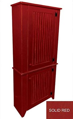 2 Piece Kitchen Pantry Cabinet Solid Red ** Click here for more details @