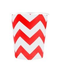 Kırmızı Zigzag Karton Bardak (8 Adet)