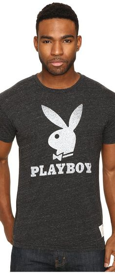 The Original Retro Brand Short Sleeve Tri-Blend Playboy Bunny Tee (Streaky Black) Men's T Shirt - The Original Retro Brand, Short Sleeve Tri-Blend Playboy Bunny Tee, RB120-PBOY008A-985, Apparel Top Shirt, T Shirt, Top, Apparel, Clothes Clothing, Gift - Outfit Ideas And Street Style 2017