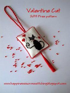 Valentine Cat Cross Stitch Pattern