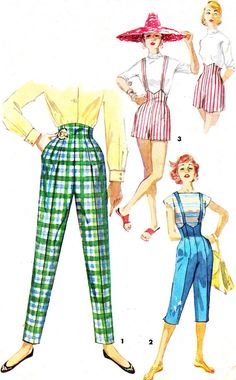 1950s Womens Pants Pattern Simplicity 1660 High Waist Pants Pedal Pushers Shorts Overalls Womens Vintage Sewing Pattern Waist 26