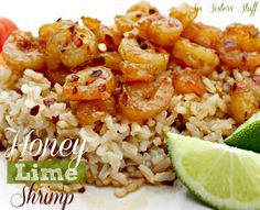 Healthy Honey Lime Shrimp, Serves 2 ~ Ingredients needed: 1/2 lb small, precooked shrimp, 1/4 cup olive oil, 2 T honey, 1/4 cup soy sauce, juice of one small lime, or half a large lime (2-3 T), zest of one small lime, or half a large lime, 2 cloves garlic, smashed, 1/2 tsp kosher salt  1/4 tsp black pepper, 1/4 tsp red pepper flakes.