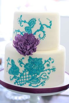 Turquoise and purple wedding cake
