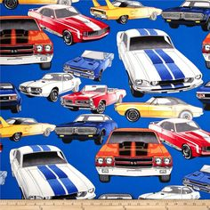 Nicole's Prints Pure Muscle Cars Royal from @fabricdotcom  Designed by the DeLeon Design Group, this cotton print fabric is perfect for quilting, apparel, crafts, and home decor items. Colors include royal blue, light grey, black, red, orange, yellow, and pink.