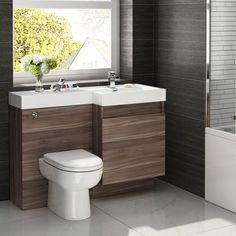 conterporay bathroom vanities and sinks atlanta with modern chrome faucet and walnut finish