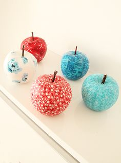 Apples Decoupaged With Fabric Fat quarters