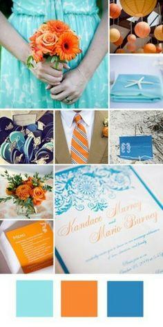 Orange and blue wedding colors.