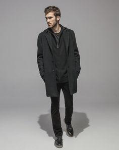 Felted Alpaca Topcoat (Charcoal) Super Soft Merino Zip Front Hoodie (Black) Standard T (Black) 16 Wale Cord Slim Fit Stretch (Black)
