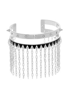 Maria Francesca Pepe Cuff with sublimation, spikes, swarovski & chains Shop now>https://www.mariafrancescapepe.com/showplarge.aspx?prodid=646&catid=47&utm_source=Social&utm_medium=Pinterest&utm_campaign=SS14_cuff_chains