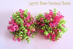 Small Pink Limeaid Korker Set - korker hair bows - pink and green bows