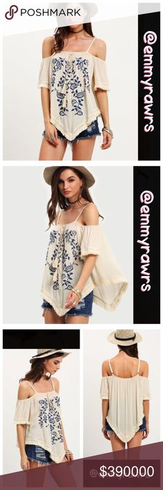 $39 • Coming soon • comment to reserve Beautiful embroidered floral off the shoulder top. Material: Rayon. Will be listed at $39. Tops Blouses