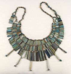Ancient Egyptians beautiful jewellery .Blue beaded necklace.
