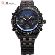 (37.71$)  Know more - http://aii5i.worlditems.win/all/product.php?id=1406062963 - SHARK Sport Watch Digital LCD Stainless Steel Strap Relogio Masculino Black Wristwatches Quartz homme Military Men Clock / SH116