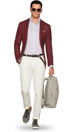 Suitsupply Jackets: We couldn't be more proud of our tailored jackets. The soft shoulders, Italian fabrics, impeccable slim fit—just a few reasons you should check out our latest arrivals! Maroon Blazer, Summer Blazer, Coral, Tailored Jacket, Blazer Outfits, Formal Wear, Business Casual, Menswear, Style Inspiration