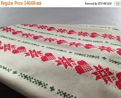 ON SALE Swedish Solberg/Fortex woven Christmas table cloth Large white red table cloth Scandinavian table cloth