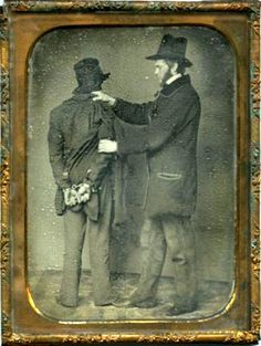 ca. 1850 daguerreotype portrait of Frederick Warren, Worcester City Marshal, with handcuffed prisoner, Moses Chapin
