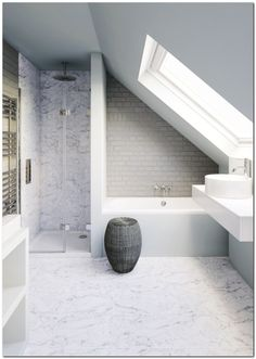 Small bathroom in need of clever tricks? - - Browse our small bathroom design ideas. Attic Shower, Small Attic Bathroom, Loft Bathroom, Bathroom Design Small, Bathroom Mirrors, Loft Ensuite, Bathroom Faucets, Industrial Bathroom, Bathroom Designs