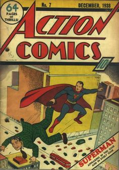December 1938: During The Man of Steel's early years, his logo underwent various changes all with primary colors red, blue, and yellow. After a few issues, the symbol came to reflect an inverted triangle with the red S inside in Action Comics #7.