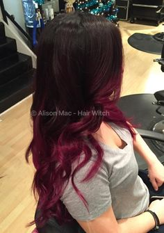Wine balayage using Pravana Wild Orchid