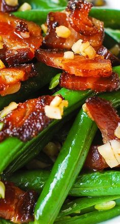 Garlic and Bacon Green Beans sauteed in olive oil and butter.