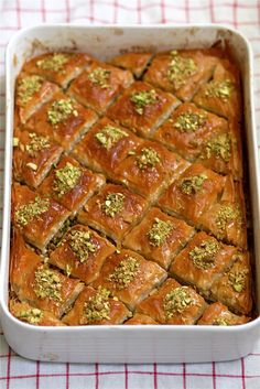 To Make Baklava How to Make Baklava Cooking Lessons from The Kitchn--what a fantastic dessert for a crowd!How to Make Baklava Cooking Lessons from The Kitchn--what a fantastic dessert for a crowd! Just Desserts, Dessert Recipes, Phyllo Dough, Arabic Food, Arabic Sweets, Greek Recipes, Egyptian Recipes, Stick Of Butter, A Food