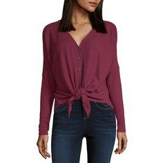 7ce78bae5453f a.n.a Long Sleeve V Neck T-Shirt-Womens Knit Tie