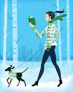 Snow, walking and reading / Nieve, paseo y lectura (ilustración de Christopher Silas Neal)