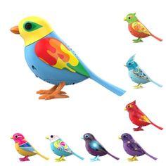Les Digibirds sont des oiseaux interactifs. Ils chantent, bougent leur tête et leur bec, comme des vrais. Si l'enfant siffle ou souffle sur son Digibird, celui-ci réagit. Et s'ils sont plusieurs, ils réagissent et chantent en choeur. Avec l'application Digibirds, l'enfant a accès à de nouvelles mélodies et des mini-jeux. Ces jolis oiseaux colorés sont des petits compagnons pour l'enfant. Il peut collectionner les 10 modèles différents.