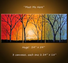 "Original Large Abstract Painting Modern Contemporary ... 24"" x 54""... Meet Me Here by Amy Giacomelli. $365.00, via Etsy."