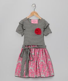 Take a look at this Gray & Hot Pink Eiffel Tower Rosette Dress - Toddler & Girls on zulily today!