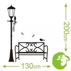NAKLEJKA NAKLEJKI na ścianę SZABLON ławka latarnia Home Decor, Decoration Home, Room Decor, Home Interior Design, Home Decoration, Interior Design