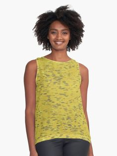 www.redbubble.com/people/silverpegasus/shop, Buy Dots Ochre Contrast Tank by SilverPegasus for RedBubble, black or white back panel, apparel, clothing, clothes, tops, tank top, chiffon tank top, women's fashion, abstract, stylish, ochre, mustard yellow, gray, grey, organic pattern, dots, modern, trendy, buy chiffon tank tops, best clothing ideas on Pinterest, #top #tanktop #chiffontanktop #apparel #clothing #clothes #dots #ochre #mustardyellow #trendy #redbubble