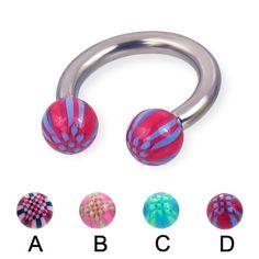 Acrylic checkered ball titanium horseshoe barbell, 10 ga