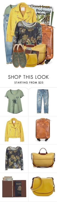 """""""Hollister Ultra Low-Rise Slim Boyfriend Jeans"""" by tasha1973 ❤ liked on Polyvore featuring RVCA, Hollister Co., MANGO, Patricia Nash, Elena Mirò, Longchamp, Royce Leather, Coach and No Name"""
