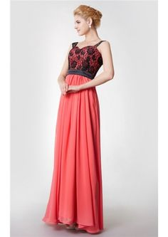 Straps A-line Sleeveless Floor Length Zipper Chiffon Lace Watermelon Ruched Bridesmaid Dresses