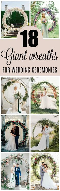 If you're looking for the newest wedding trend, check out these 18 Circle Ceremony Arch Wedding Decoration Ideas - Pretty My Party #circlearch #weddingideas #weddingdecorations #giantwreaths #giantweddingwreaths